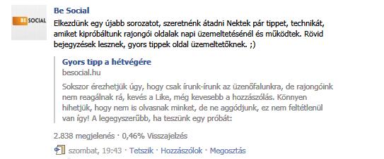 Facebook bejegyzés